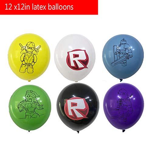 Ro-blox Party Supplies Decoraciones Favores de fiesta de cumpleaños incluidos Ro-blox Telón de fondo, globos, mantel, bolsas de regalo y servilletas, paquete de suministros para 10 invitados