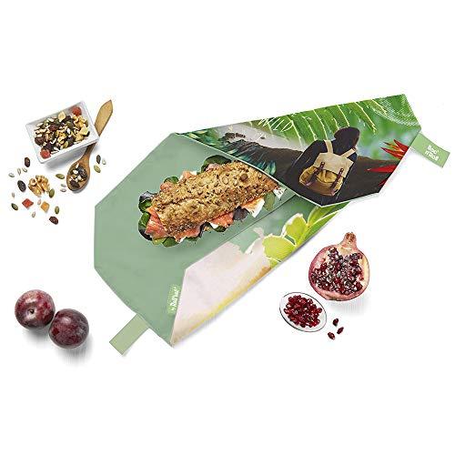 Roll'eat - Boc'n'Roll Young | Bolsa Merienda Porta Bocadillos, Envoltorio Reutilizable y Ecológico sin BPA, Wild