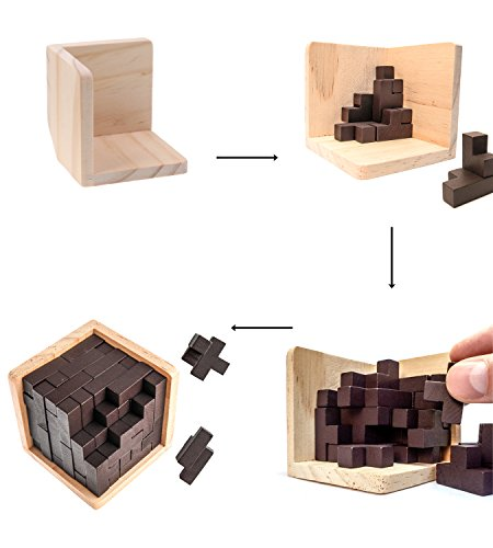Rompecabezas 3D De Madera de Sharp Brain Zone. Desarrolla Habilidades de Genio con Sus Piezas en Forma de T Que se Ajustan como en Tetris. Juguete Educativo para Niños y Adultos. (Original)