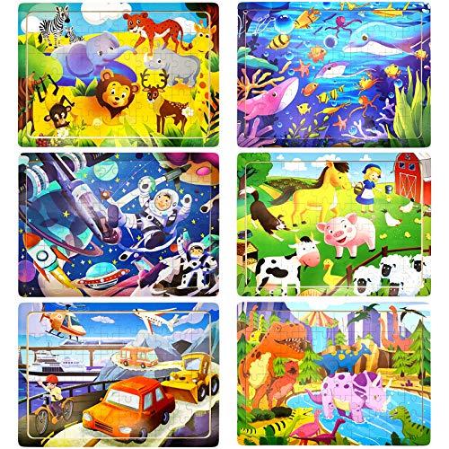 Rompecabezas de Madera Niños, 6 Paquetes 60 Piezas Puzzle Madera para 3 4 5 6 Años, Juguetes Educativos Montessori con 6 Temas, Animales, Dinosaurios, Vehículos, Vida Marina, Espacio, Regalo Infantil