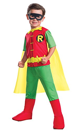 Rubies Disfraz oficial de Robin de superhéroe de DC para niño, talla mediana de 5 a 7 años