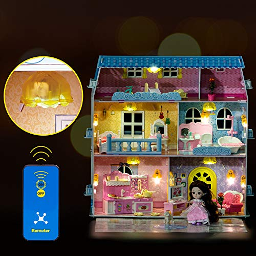 RuiDaXiang Casa de muñecas, Muebles y Luces de Control Remoto, 6 Habitaciones en Tres Pisos, Juguete de casa de muñecas para niñas de 3 a 6 años