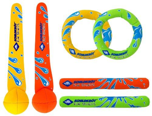 Schildkröt funsports set de buceo de neopreno, juego de buceo de 6 piezas - 2 anillos, 2 varillas, 2 pelotas con cola, relleno de arena, quedan de pie en el fondo, 970207