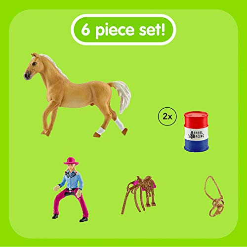 Schleich- Colección Farm World Figuras de Carrera de Obstáculos con Amazona Vaquera, Accesorios y Funciones (41417)