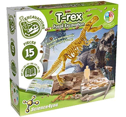 Science4you - T-Rex Excavaciones Fósiles - Juguete Educativo con Dinosaurios, Destruye Bloques con Fósiles, Incluye Libro Educativo y Aprende sobre Paleontología, Manualidades para Niños +6 ãnos