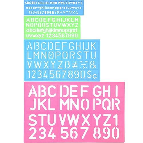 Shappy 4 Piezas Plantilla de Letras Plantilla de Alfabeto Regla de Manualidad de Número Letra Plantillas Decorativas de Plástico Set de Guías, Colores Surtidos