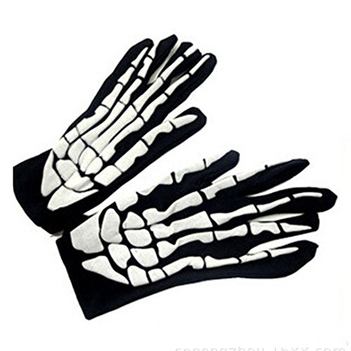 SHOBDW Guantes de esqueleto de Halloween guantes de hueso de huesos de cráneo guantes de dedo niños accesorios de Halloween y fiesta de disfraces de baile de Halloween(Blanco,One Size)