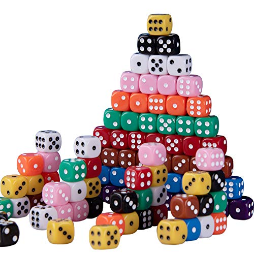 SIQUK 100 Piezas Dados de Colores 6 Caras Dados 10 Colores para Tenzi Casino Dados Juegos de Mesa, 12mm