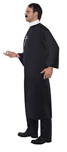 """Smiffys-20422L Disfraz de Cura, con túnica Larga y Cuello, Color Negro, L-Tamaño 42""""-44"""" (Smiffy'S 20422L)"""