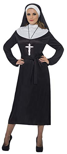 Smiffy'S 20423M Disfraz De Monja Con Vestido Cinturón Y Toca, Negro, M - Eu Tamaño 40-42