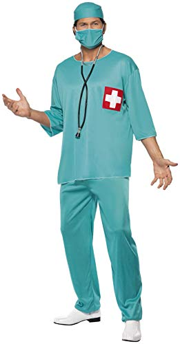 "Smiffys-21781M Disfraz de Cirujano, con túnica, pantalón, Gorro y mascarilla, Color Verde, M-Tamaño 38""-40"" (Smiffy'S 21781M)"