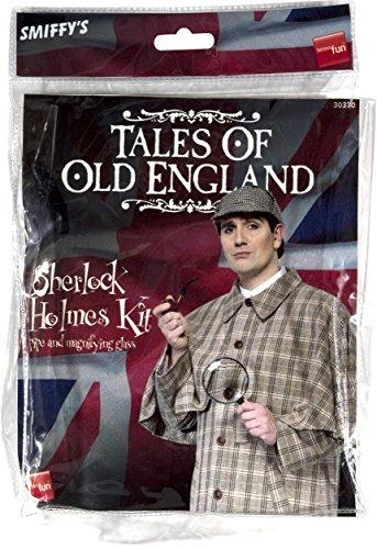 Smiffy'S 30370 Kit De Sherlock Holmes De Tales Of Old England Con Pipa Y Lupa, Marrón , color/modelo surtido