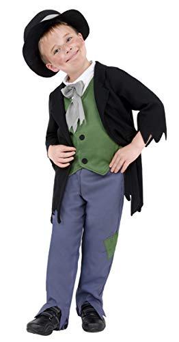 Smiffys-38671M Disfraz de granuja Victoriano, con Top, Pantalones y Gorro, Color Negro, M-Edad 7-9 años (Smiffy'S 38671M)