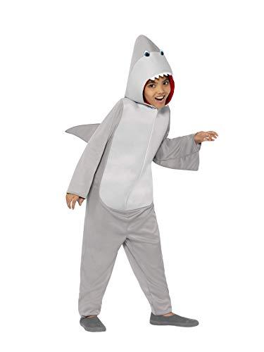 Smiffys-44071L Traje de Tiburón, Todo en Uno con Capucha y Aletas, Color Gris, L-Edad 10-12 años (Smiffy'S 44071L)