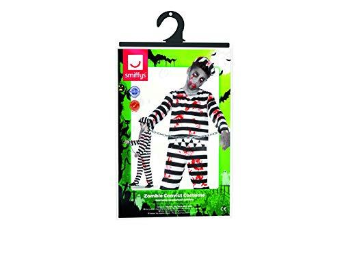 Smiffys-44326t Disfraz de zombi convicto, con pantalón, parte de arriba, gorra y esposas, color negro y blanco, T-Edad 12 años + (Smiffy's 44326T)