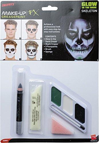 Smiffys Kit de Esqueleto Brillo en la Oscuridad, sobrecito de Crema de Brillo en la Oscuridad, lápiz Negra, Verde, Blanco y Negra Pintura Facial con Esponja y Pincel aplicador
