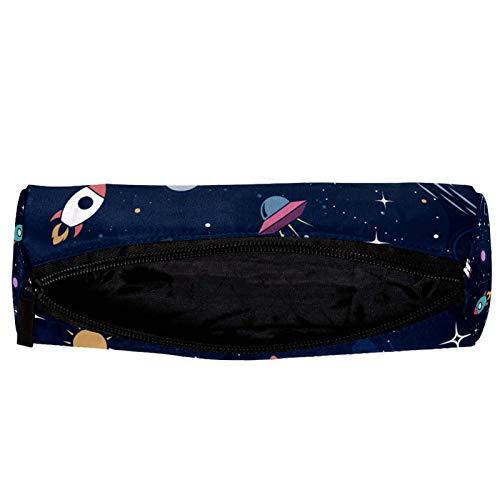 Space Stars Planets con cohetes, estuche para lápices con cremallera, organizador de monedas, bolsa de papelería, bolsa de maquillaje, bolsa de cosméticos para mujeres, adolescentes, niñas y niños