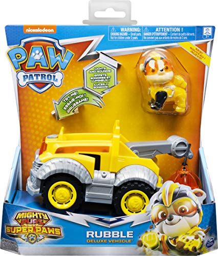 Spin Master Paw Patrol: Mighty Pups Super Paws - Rubble Deluxe Vehicle (20115477), Multicolor