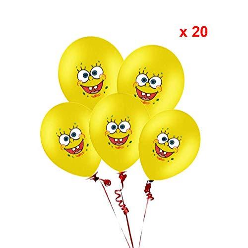 Suministros de globos de fiesta de Bob Esponja, globos de papel de aluminio con personajes de Bob Esponja, pancarta de cumpleaños y globos de látex para niños decoraciones