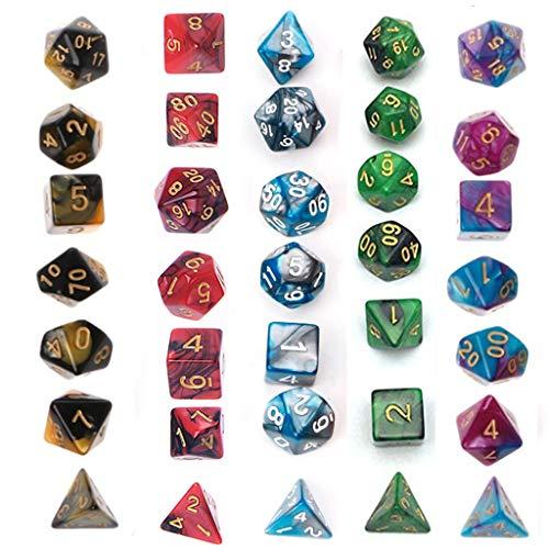 suoryisrty Juego de Dados Simple, poliédrico, 5 x 7-Die Series Dungeons and Dragons de Dos Colores DND RPG MTG Dados de Juegos de Mesa con Bolsas Gratis