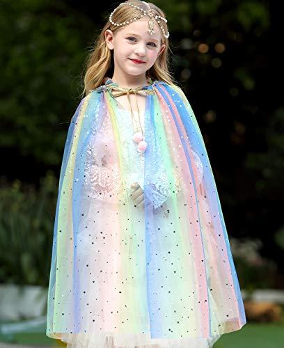 Tacobear Capa Princesa Niña Disfraz Princesa Vestido Halloween Navidad Carnaval Cosplay Cumpleaños Fiesta Princesa Disfraces Capa Vistoso para Niños