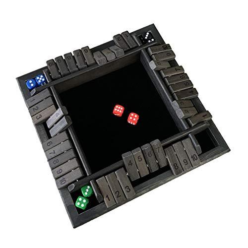 Telisii Shut The Box Dice Game Clásico 1-4 Jugadores Juego de Mesa de Madera con 8 Dados, Clásico Juego de Mesa de Estrategia para niños - Divertido Juego de Mesa de Aprendizaje
