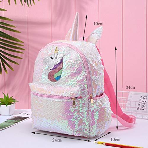 TENDYCOCO Mochila de Unicornio Mochila de Lentejuelas Reversible Linda Mochila de Lentejuelas Flip para niñas