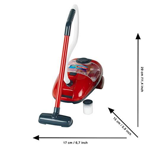 Theo Klein 6742 Carro de limpieza, Incluye escoba, fregona, cubo y más, Aspiradora a pilas con función de aspirado y sonido, Medidas 29 cm x 24 cm x 60 cm, Juguete para niños a partir de 3 años