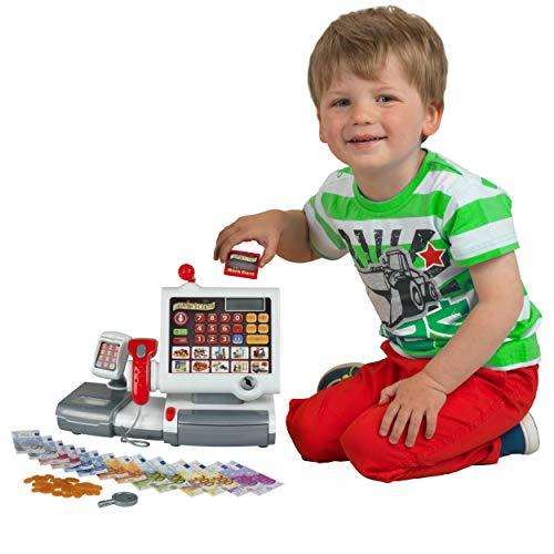 Theo Klein 9356 Caja registradora de juguete, Con teclado de lámina, función calculadora, terminal de pago con escáner y báscula con función de luz y sonido, Medidas: 31 cm x 15,5 cm x 23 cm,