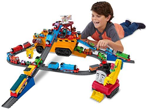 Thomas & Friends GDV38 Thomas and Friends Super Cruiser 2 en 1 - Juego de vehículos Grandes y Pistas con Motores Trackmaster y MINIS Train Engine, Multicolor