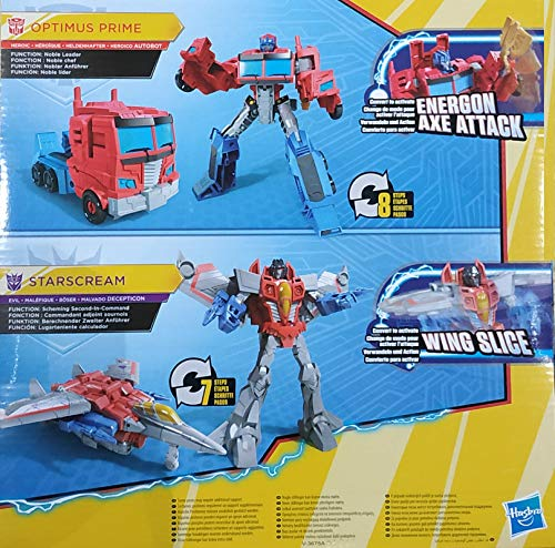 Transformers Cyberverse Warrior Action Attackers Optimus Prime y Starscream - Juego de 2 Figuras de acción para niños a Partir de 6 años, 13,5 cm