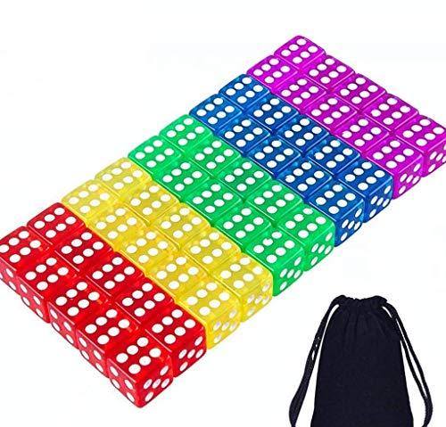 Tweal Juegos de Dados,50 Piezas Dados Multicolor 5 Colores Translúcidos Dados de Esquina Redondeados de 6 Lados con Bolsa de Almacenamiento Gratis para Juegos de Mesa Favores de Fiesta