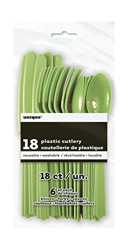 Unique Party- Cubiertos de plástico para 6, Color verde lima, 18 Piece Cutlery Set (30288) , color/modelo surtido