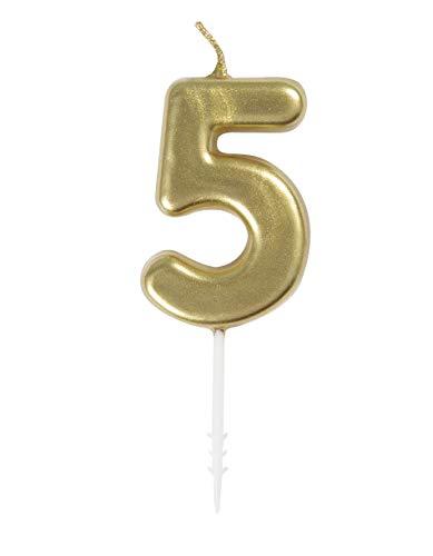 Unique Party - Mini Vela de Cumpleaños Número 5 de Oro (19955)