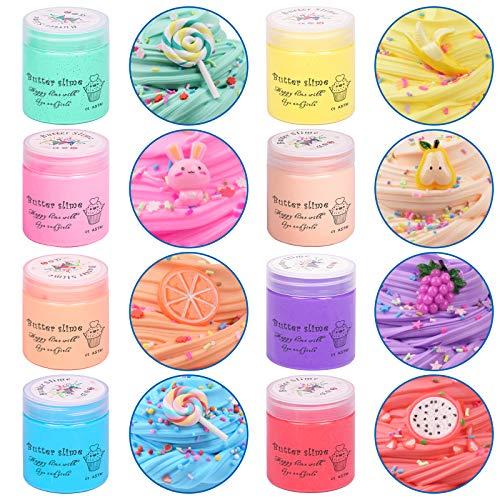 Uolor Fluffy Slime Putty Slime, 8 Paquetes Kit de Limo de Mantequilla Suave Juguetes para aliviar el estrés para niños Adolescentes Adultos para aliviar el estrés, Ejercicios de Manos y Dedos