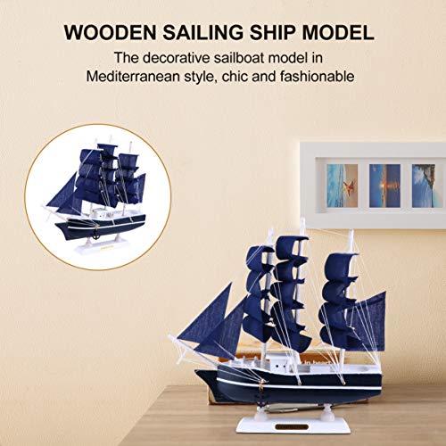 VICASKY Barco de vela modelo de decoración de madera en miniatura, barco de velero vintage náutico marino costa tablero de mesa, juguete educativo para el hogar casa de muñecas decoración