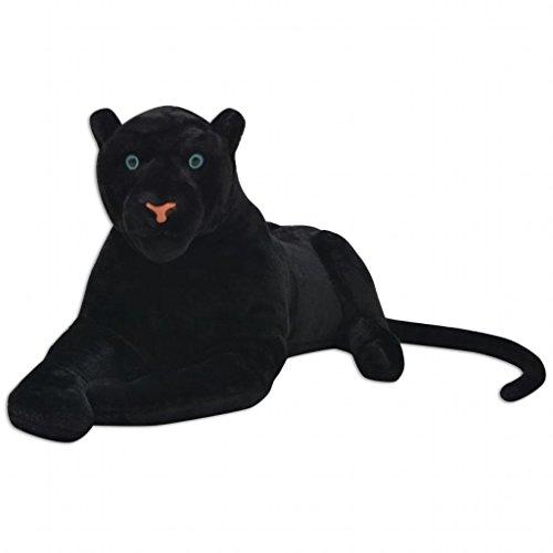 vidaXL Pantera de Peluche Gigante Negra XXL Animal de Peluche Decoración Juguete