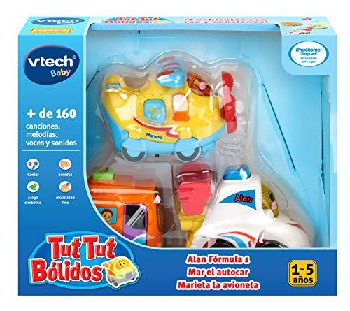 VTech TutTut Bólidos Pack de 3 coches con botón sorpresa, Alan fórmula 1, Mar el autocar y Marieta la avioneta, multicolor (3480-242177) , color/modelo surtido