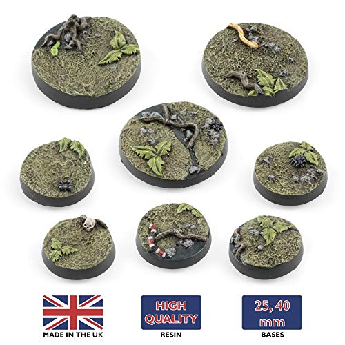 War World Gaming Jungle Warfare - Peanas Redondas x 10 (25mm) - Escala 28mm Wargaming Diorama Miniaturas Batalla Ejército Horda Minis Maqueta Wargame Modelismo