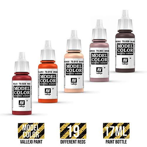 War World Gaming Vallejo Model Color Red - Clear Orange 70.956 - Wargame Miniature Figure Painting Assortment Modelling Wargaming Hobby Tabletop Model Paint Collection