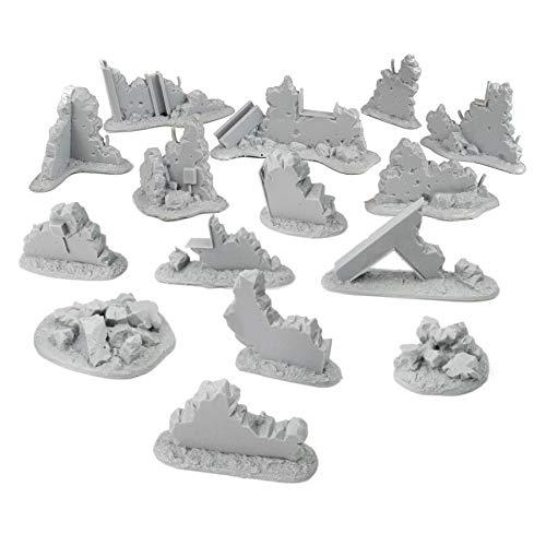 War World Gaming War-Torn City - Kit Grande Escombros - 28mm Escala Sci-Fi Wargaming Modelismo Dioramas Zombis Post Apocalíptico Bombardeado Destruido Wargame Minaturas