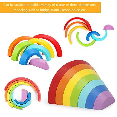 welltop Puzzle Rompecabezas Apliable Diseño de Arco 7 Colores Rainbow Toy Bricks Apilamiento Educación temprana Geometry Ladrillos Rompecabezas Educativo Regalo de Juguete