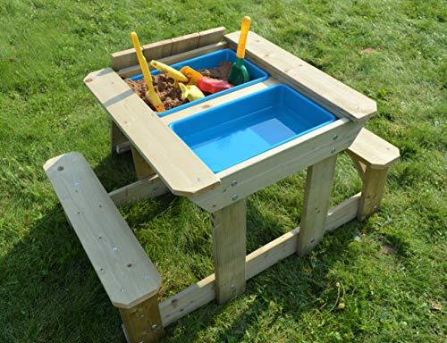 Wendi Toys T3 Mesa Arena y Agua   Juguete de Playa Mesa de Arena y Agua   Juegos al Aire Libre Mesita para Niños con 2 cuencos de plástico y 2 bancos   Juego de Mesa de Juego para Niños Las de Verano