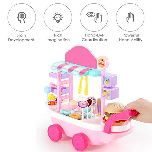 whelsara Juego de imaginación Juego Mini Helado Candy Trolley House Play Juguetes educativos Candy Car Ice Cream Truck Candy Trolley Ice Cream Candy Cart House Juguetes para niñas Niños charming