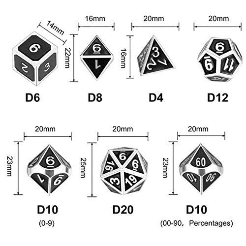 WHFDSBD Dados Poliédricos,Juego De Dados De Metal Verde D&Amp;D DND Poliédricas Y Dragones Dados para Juegos De Mesa RPG-DND Dados De Metal