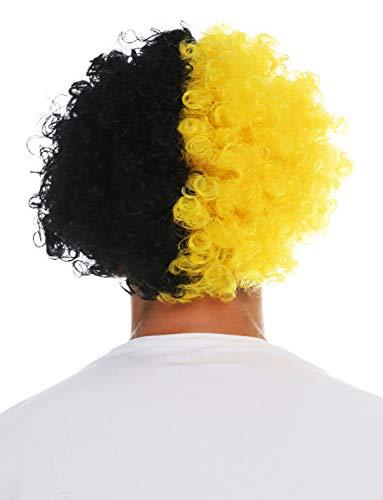 WIG ME UP- MMAM-15M Peluca Carnaval Afro hinchas del fútbol Cabello Negro Amarillo Partido por la Mitad