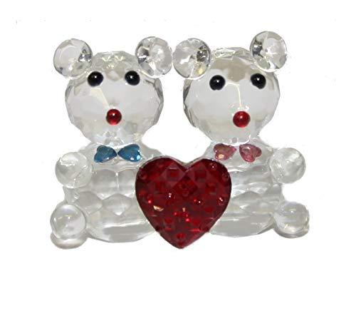 WWW.Vienna-Fashion.at - Juego de 2 ositos con corazón y pajarita de cristal para el día de San Valentín (6,5 cm)