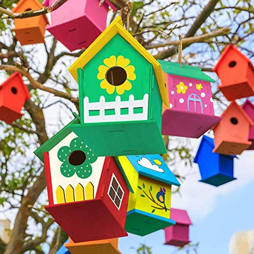 xinxintai Manualidades de Cerezas para niños de 4 a 8 años - Paquete de 2 Kit de Bricolaje para casa de pájaros - Construya y pinte pajareras de Madera para niños pequeños