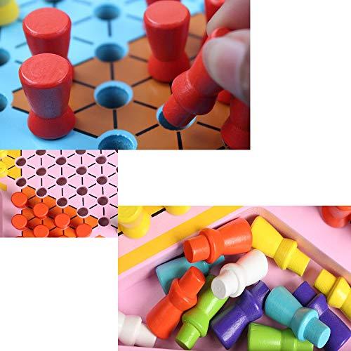 Yaunli Damas Juguetes de Madera for niños Damas Primaria for Adultos Juegos de Mesa Padres e Hijos Juegos interactivos Damas de Viaje Familiar Establecido (Color : Black, Size : Free Size)