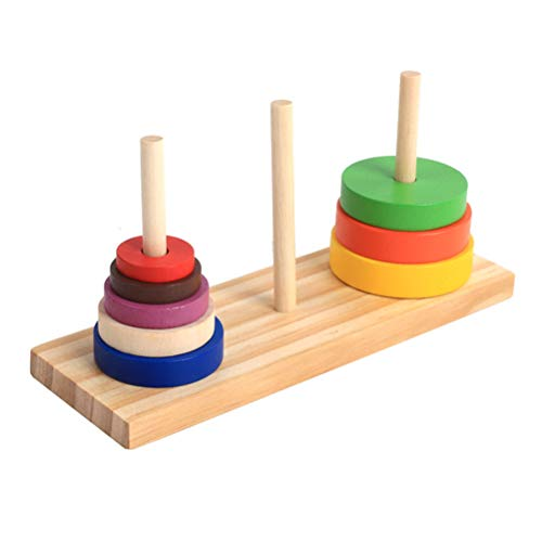 YeahiBaby 1 Juego de Rompecabezas de Madera Anillo Colorido Torre de apilamiento Juguetes educativos de Desarrollo para niños niños